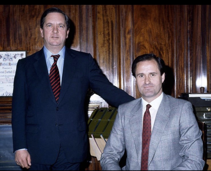 George on his first day as Arsenal boss with Chairman Peter Hill-Wood