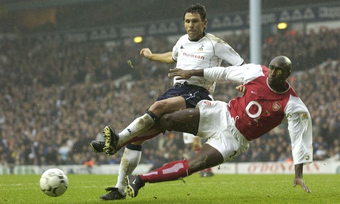 A great action shot of Sol flying into a tackle against Tottenham
