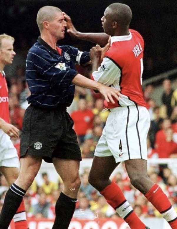 Patrick Vieira and Roy Keane in one of their many clashes