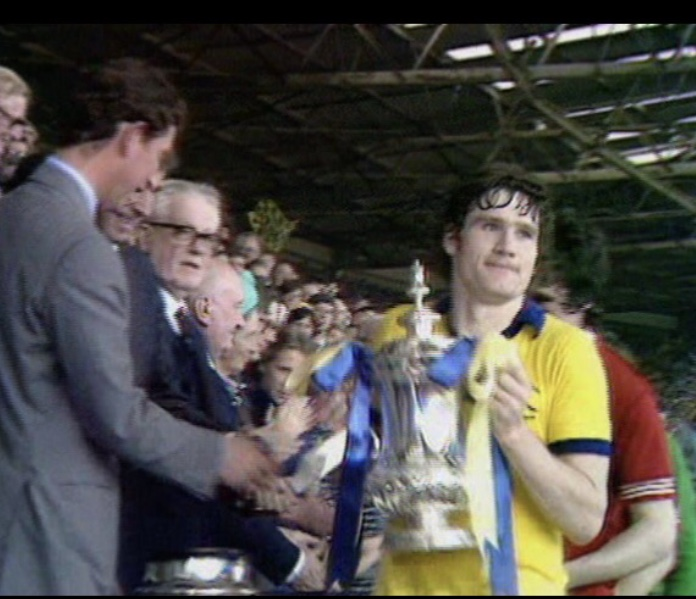 "Pat receiving the FA Cup from Prince Charles in 1979 after beating Manchester United in the ""five minute final"""