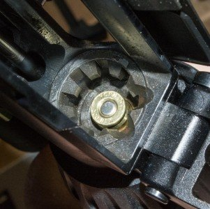 Here's a 300 Blackout cartridge loaded with a ballistic tip bullet, dropped, not forced, into the same 5.56mm chamber.