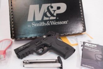 The pistol comes with (2) ten-round magazines, safety lock and gun lock keys.