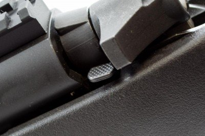 The bolt release is equally simple, and mounted opposite the bolt handle.