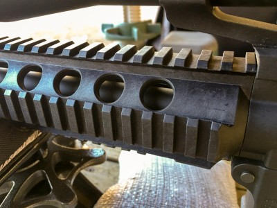 This one had a quad rail setup although the newest catalog shows an M-Lock rail.