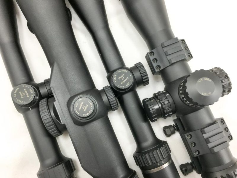 Most scopes use 1/4 MOA (or 1/4-inch at 100 yard) click adjustments, although the Eliminator III integrated laser model offers 1/8 MOA adjustment.