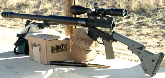 Watson's Weapons' The Boss uses an AR-15 receiver and mates with any AR lower. However, the action must be broken open to reload with a round in the bolt head.