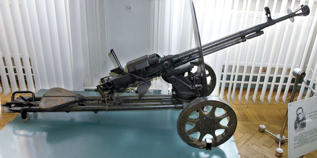 A WWII-era DShK-38 is on display in this military museum. It differs from the post-war model with its rotary-wheel belt feeder, muzzlebrake and the heavy wheel carriage and gun shield.