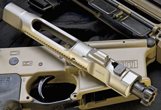 The bolt carrier houses a bolt made from 9310 (a superior metal when compared with the Mil-Spec Carpenter 158) and has an integral gas carrier key. The design is both simple and slick.