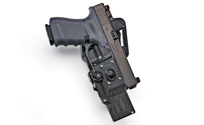 The open-top design of the MasterFire RDH is compatible with all slide-mounted mini red dot sights and suppressor-height sights. This unique OWB duty rig will also secure pistols with compensators and sound suppressors attached. $170.