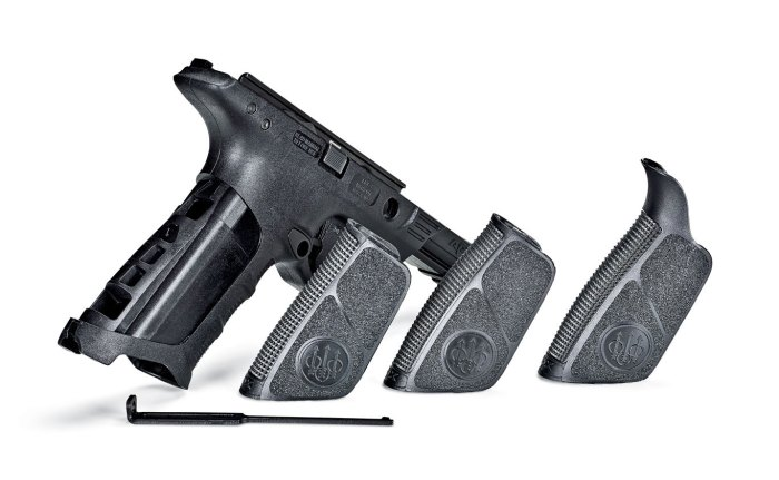 The APX includes three sizes of backstraps with side panels. They secure to the grip module using a long steel retainer.