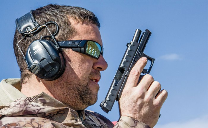 "Clay Martin, contributor for gunsamerica.com, was a U.S. Marine and is a retired U.S. Army Green Beret with combat tours in Iraq. Martin evaluated the APX by shooting nearly 1,000 rounds. Satisfied with its low bore axis, Martin said, ""It was a joy to shoot."""