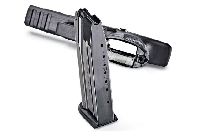 The APX comes with two finely crafted 17-round magazines. Factory 21-round magazines will soon be available.