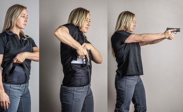 The Adams' corset allowed for easy concealment under a polo-style shirt and top. At the range, it afforded the author 2-second draw times. An optional kydex insert added integrity to the purchase and draw stroke. With any concealed carry holster, make sure to practice wearing it and drawing.