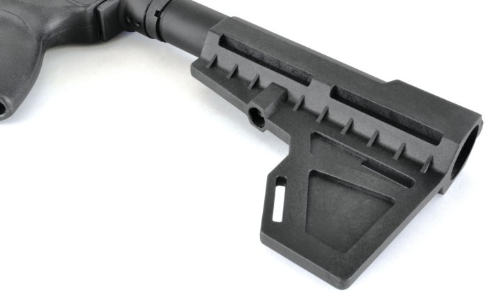 The Shockwave Technologies Blade is made entirely of reinforced polymer and is offered in various colors. It is the smallest, lightest and least expensive of all the pistol arm braces.