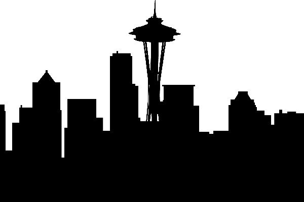 black and white Seattle skyline centered on the Space Needle