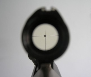 Steyr AUG A1 Scope view showing reticle and crosshairs