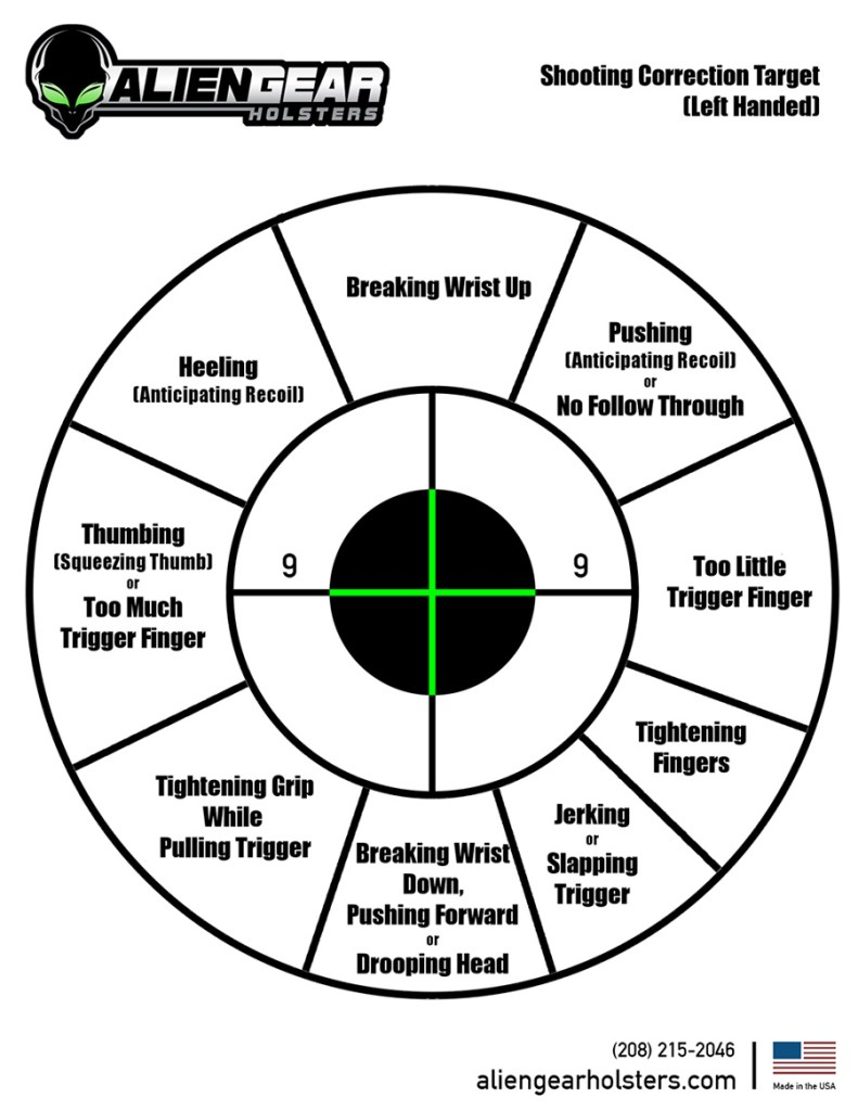printable corrective target left handed shooters