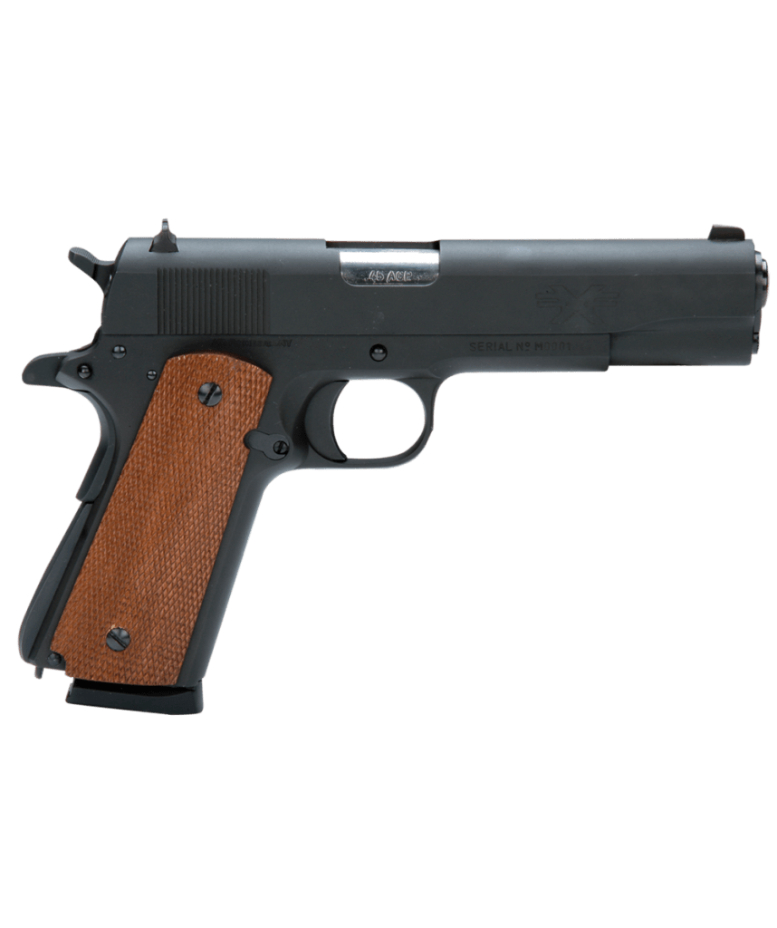 American Tactical Imports FX45 .45 ACP 8-Round 5″ 1911 in Carbon Steel (Mahogany Grips) – ATIGFX45MIL