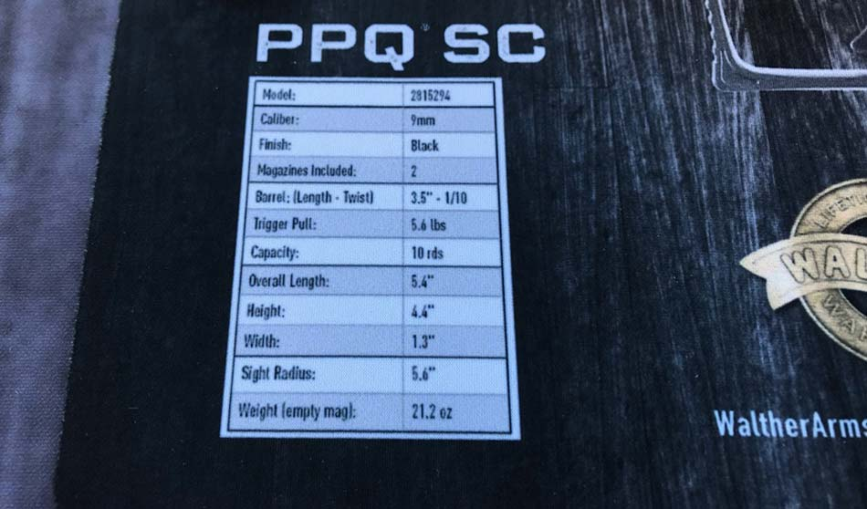 Walther PPQ SC specs