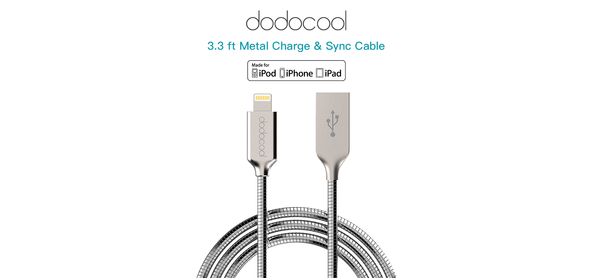 Mfi Certified 3 3 Ft Metal Lightning To Usb 2 0 Cable