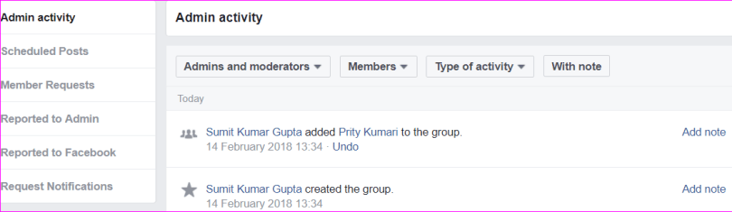 facebook group activity