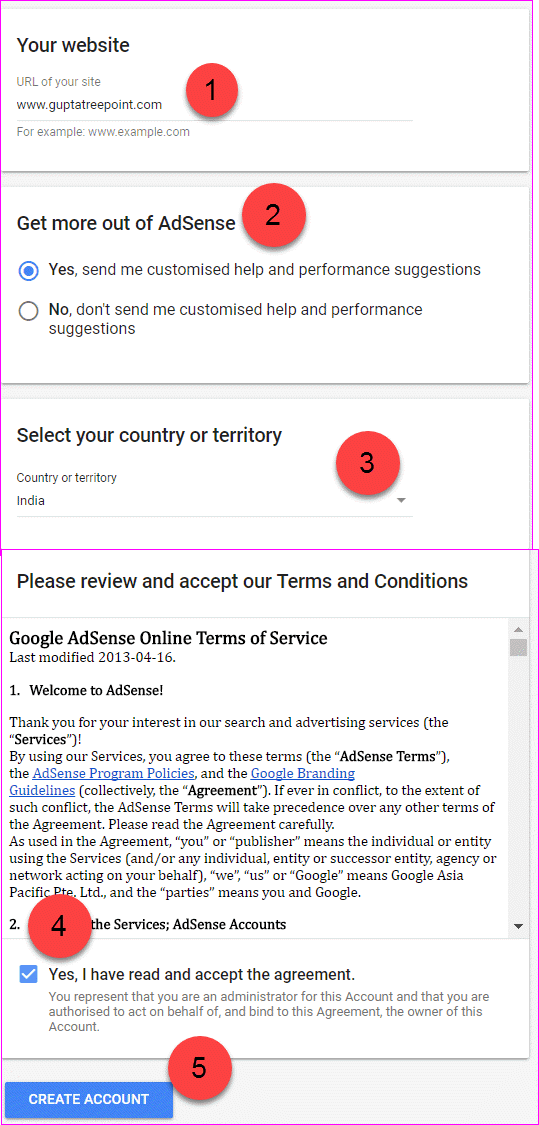 Google Adsense sign up form