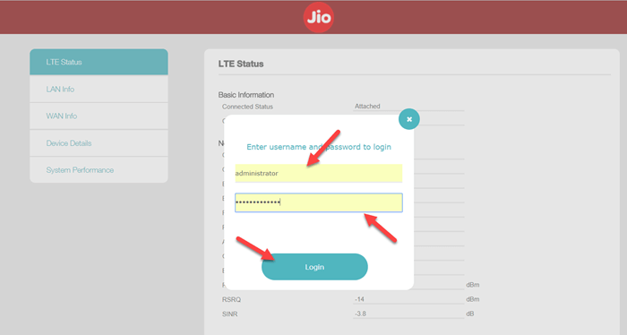 Login to JioFi