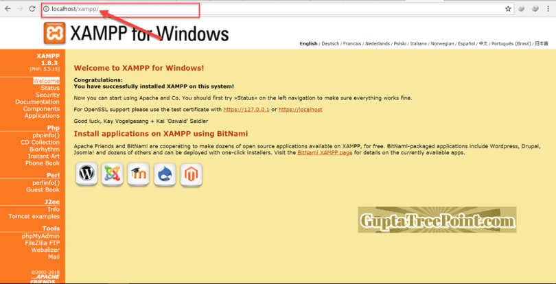 XAMPP Staring First Page