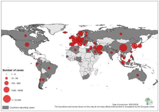 corona virus map