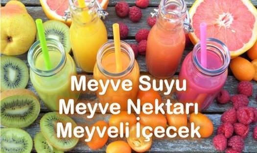 Meyve suyu meyve nektarı meyve oranı