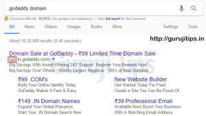 Godaddy Domain Rs 99