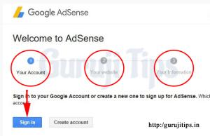 Google Adsense Account Create Step One