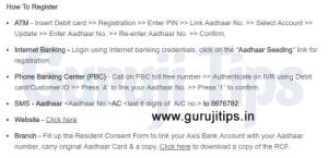 Link aadhaar to axis bank account