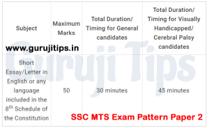 SSC MTS Exam Pattern Paper 2
