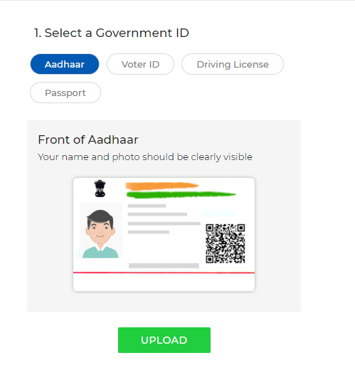 upload aadhar in zestmoney