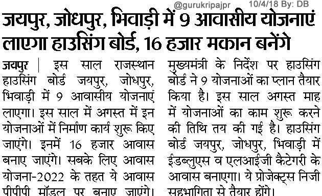 हाउसिंग बोर्ड 9 आवासीय योजनाएं लाएगा, जयपुर, जोधपुर, भिवाड़ी में 16 हजार मकान