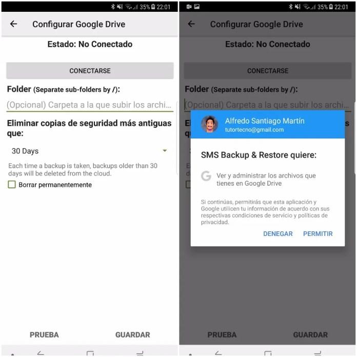 SMS Backup & Restore configurar google drive