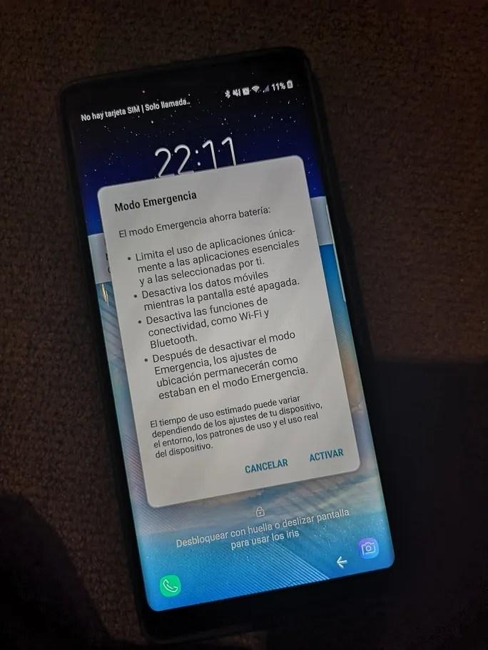Samsung Modo emergencia