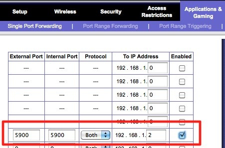 linksys Single Port Forwarding