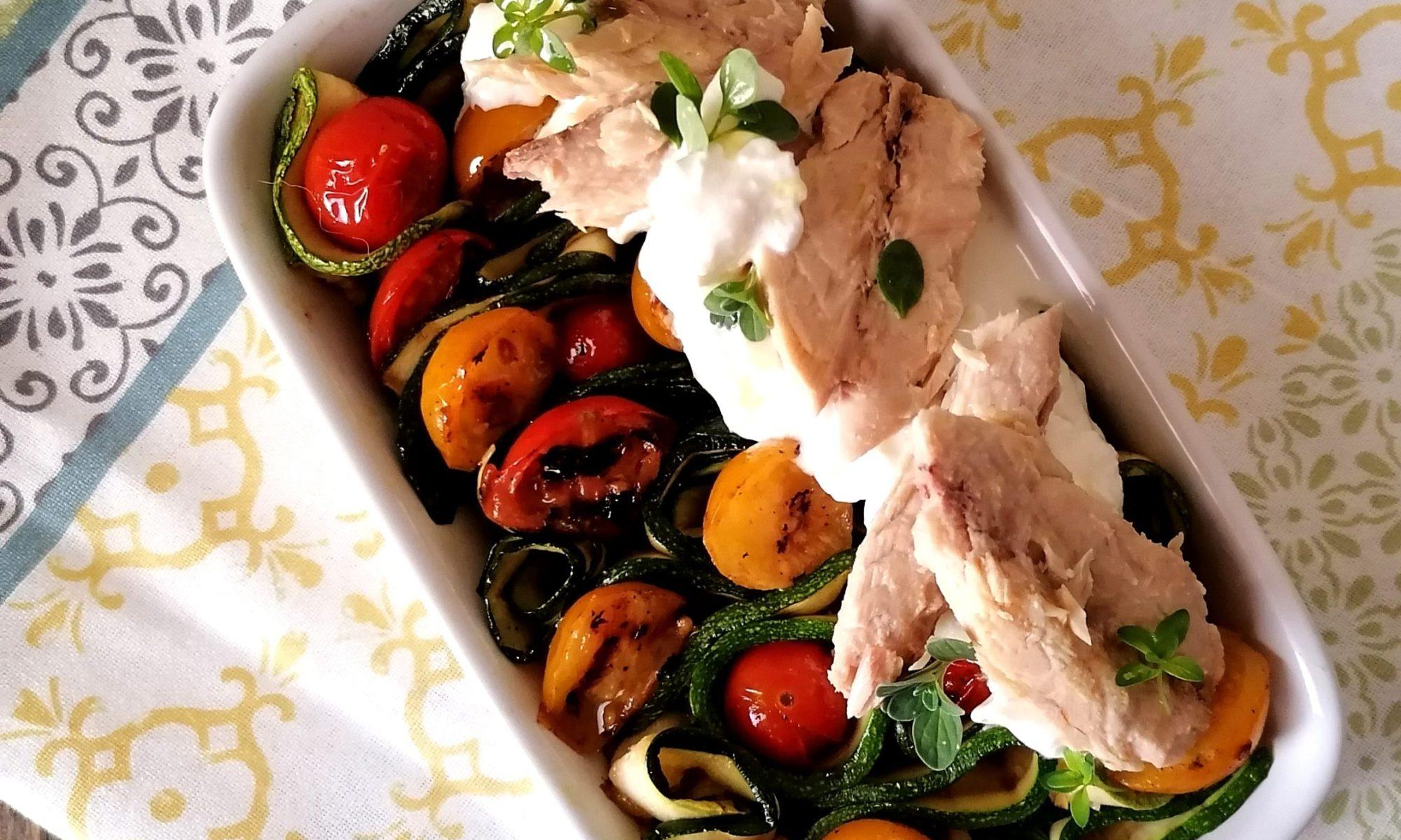 Sgombro con verdure grigliate