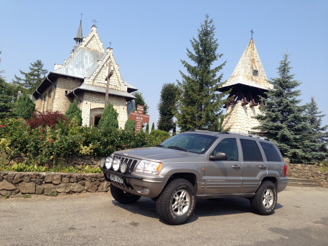 Jeep posing in front of church