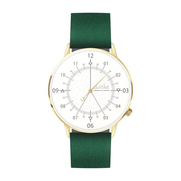 Louis Watch White & Gold - Green Leather