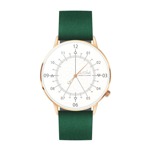 Louis Watch White & Rose Gold - Green Leather