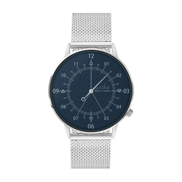 Louis Watch Blue & Silver - Milanese Silver