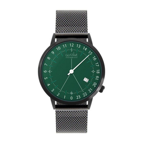 24H Green Watch - Brown Leather