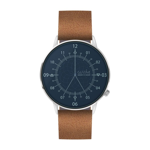 Louis Watch Blue & Silver - Brown Leather