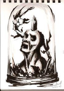 Dibujo: boceto de Causalidad y Jaula (tinta sobre papel) | por Gustavo A. Díaz G.