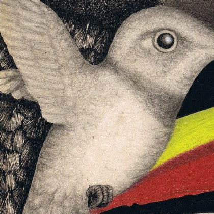 Dibujo: Gran Condor Sagrado con pájaro lenguado (detalle 4)  por Gustavo Adolfo Díaz G.