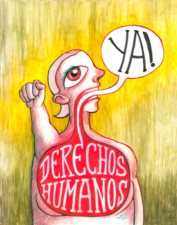 Ilustración: Cartel IX Marcha Foro de Vida Independiente, Derechos Humanos ¡Ya! | por Gustavo Adolfo Díaz G.