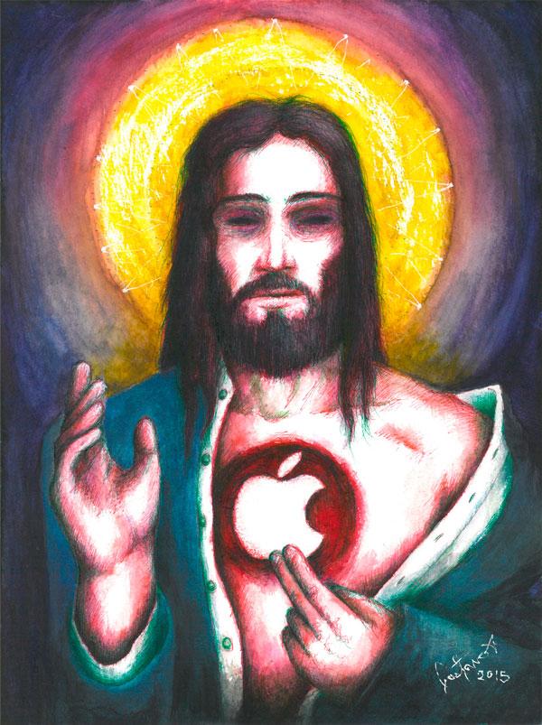 Personaje masculino semejante a Jesucristo en cuyo pecho tiene un hueco en donde tiene el logo de Apple